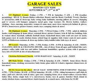 2019 FALL Garage Sales - sheet 1
