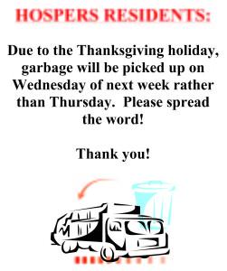2019 - Thanksgiving Holiday Garbage Pickup