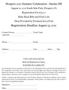 2021 - SMOKE OFF Registration Form