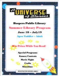 HOSPERS LIBRARY - SUMMER READING 2019