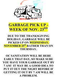 OC Sanitation - Thanksgiving 2020 Pickup